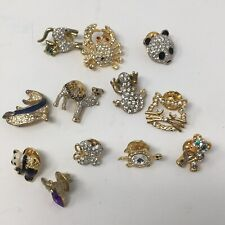 12 Gold Tone Rhinestone Brooch Pin Jewelry Animal Camel Crab Panda Dolphin Frog
