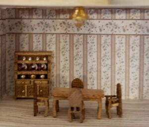 1:144 Dollhouse Miniature Dining Room Set, Filled China/Hutch w Ceiling Light
