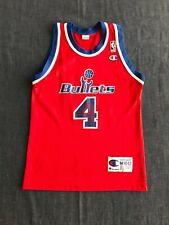 VTG RARE 90S USA Webber #4 Washington Bullets Champion Jersey NBA Size Youth M