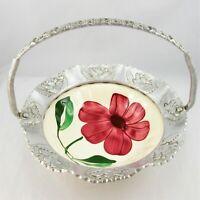 Blue Ridge Southern Potteries Bowl Red Flower Stamped Aluminum Basket Frame