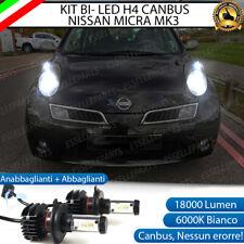 KIT LED H4 6000K PER NISSAN MICRA MK3 18000 LUMEN CANBUS XENON 100% NO ERRORE