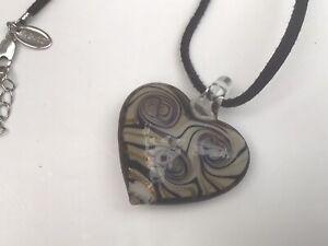 Black Light Grey Swirl Glass Heart Pendant Cord Necklace