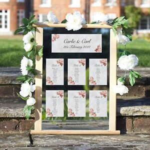 Wedding Table Plan Cards Seating Planner Vintage Style Pink