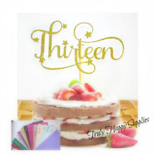 "13th Birthday cake topper ""Thirteen"" 13 thirteenth Birthday, 26 Glitter options"