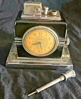 ART DECO RONSON CLOCK (Large Face) TOUCH TIP LIGHTER - Figure 190 - Very Rare
