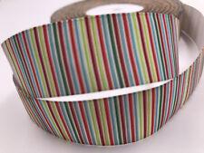 5 Yard 1'' 25MM Vertical stripes Printed Grosgrain Ribbon Hair Bow Sewing Ribbon