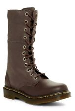 Dr Martens Hazil Slouch Motorcycle Leather Boots Brown Women Size US 7 NEW $155