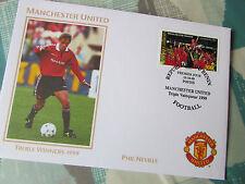 Phil Neville Manchester United 1999 agudos ganadores del primer día cubierta / Fdc