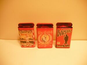 babe ruth, ty cobb, bambino, yankee boy lot of 3 tobacco tins, all REPLICAS