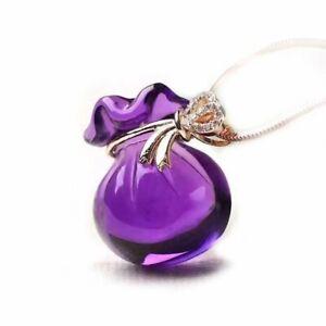 Natural Sterling Silver Healing Purple Amethyst Crystal Pendant Necklace Vintage