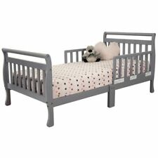 AFG Baby Furniture Anna Solid Wood Toddler Bed with Guardrails in Gray