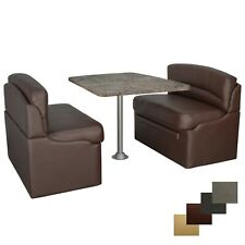 """RecPro 38"""" Mahogany Dinette Booth Set With Luna Imperial Dining Table RV Seating"""