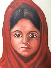 Outsider Art Original Painting Mexican Indian South American Girl Woman Shall