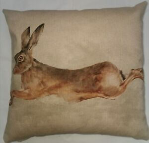 "Leaping Hare cushion cover, 17x17"", Kapok, Handmade, watercolour"