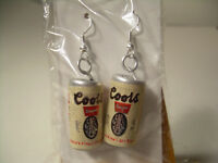Vintage Coors Beer Can Earrings Pair 70's/80's, New Hooks Silver Plated