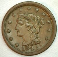 1848 Braided Hair US One Cent Penny Coin 1c Copper Coin XF Extra Fine Large Cent