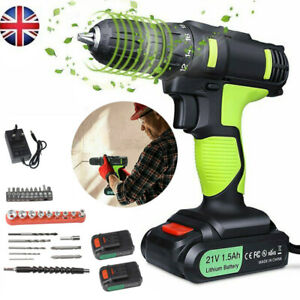 21V Cordless Drill Driver Electric Screwdriver Tool Set with 2 Lithium Batteries