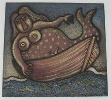 Alfredo Sosabravo (b.1930 Cuba) 1996 ceramic tile mermaid in a boat 11x12