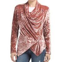 Blank Nyc Womens Blush Pink Crushed Velvet Moto Zip Up Jacket Size Medium