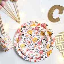 Floral Dinner Dessert Paper Plates Cups & Straws Set 50 piece
