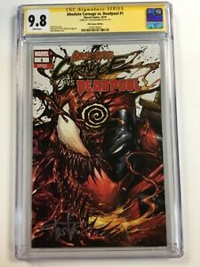 ABSOLUTE CARNAGE VS. DEADPOOL #1 Sig. Series CGC 9.8 Variant White Pages Kirkham