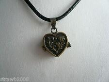 Steampunk Brass Hidden Secrets Heart Locket Pendant Black Cord Gothic Romantic
