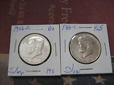 """1968-D&S PROOF & """"BU"""" SILVER KENNEDY HALF DOLLARS 2 GREAT COINS #aa1"""
