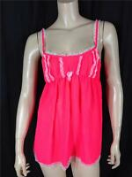FAMOUS CATALOG NEW  SHEER CHIFFON LACE -TRIM BABYDOLL NEON RED SZ S, M
