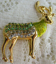 Reindeer Deer Stag Buck Christmas Crystals Brooch Pin Gold Tone