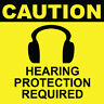 """Caution Hearing Protection Required Sign 8"""" x  8"""""""