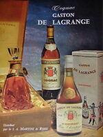 PUBLICITÉ COGNAC GASTON DE LAGRANGE V.S.O.P DISTRIBUÉ PAR LA S.A.MARTINI & ROSSI