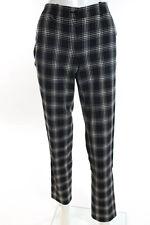 Michael Kors Black White Wool Plaid Flat Front Skinny Leg Dress Pants Size 2