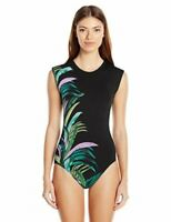 Seafolly Women's 236077 Cap Sleeve Maillot One Piece Black Swimsuits Size 8