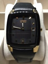 Citizen Eco Drive Men's Dress, Formal Black and Gold Toned Watch E111-S049393HST