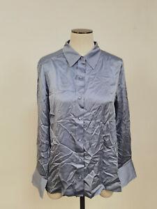 Jigsaw Silk Satin Shirt Mineral Blue Size 14 RRP £120.00