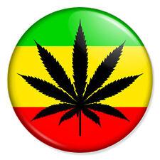 """WEED LEAF 25mm 1"""" Pin Badge Button Spliff Joint Marijuana Rastafarian Ethiopia"""
