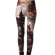 Haunted House Woman's Halloween Stretchy Spooky Trick or Treat Quality Leggings
