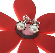 Genuine Authentic Pandora Cultured Pearl Stud Earrings With a Pop-Up Box