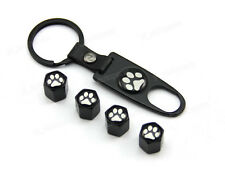 Black Tire Wheel Stem Air Dust Valve Caps & Wrench Key Chain Dog Paw Foot Prints