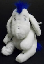 "Disney Store Winter White Eeyore 12"" Plush Stuffed Bright Blue Scarf & Hair EUC"