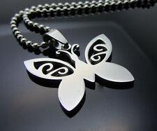 Butterfly Women/ Men's Silver 316L Stainless Steel Titanium Pendant Necklace