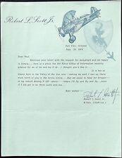 Robert L. Scott Ace Pilot 22 Victories Signed Letter God Is My Co-Pilot WW II