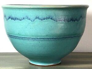 "Ceramic Center Piece Bowl Turquoise Handmade Signed ""Mosko"""