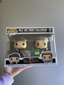 Wandavision Billy And Tommy Halloween 2 Pack ECCC Pop Vinyl With Pop Protector