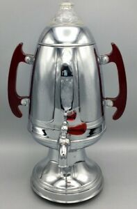 United Art Deco  Chrome Coffee Pot/Urn  with Bakelite Cherry Red Handles