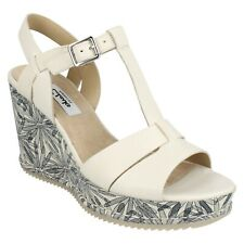 LADIES CLARKS ADESHA RIVER LEATHER CASUAL T-BAR BUCKLE PLATFORM WEDGE SANDALS