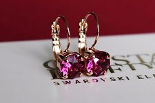 Rose Gold Plated Fuchsia Leverback Earrings made with Swarovski Crystal Element