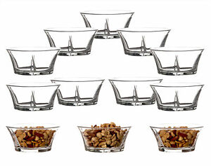 12 Dessertschalen Glas Snack Schüsseln Eis Müsli Dip Bowls Salat Set 250ml klein