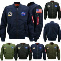 Men Thin Jacket US NASA MA1 Flight Bomber Coat Baseball Military Outwear Winter