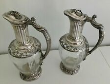 A Lovely Pair Of Antique 19th Century French Sterling Silver&Cut Glass Pitchers